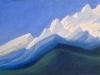 Гималаи [Первые лучи рассвета]. 1944 Himalayas [The First Dawn\'s Rays] Картон, темпера. 30,7 х 45,6
