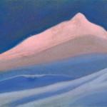 КАШМИР Вулар (?) [Над снежным покоем]. 1944 Wular (?) [Above the Snowy Silence] Картон, темпера. 30,5 х 45,9