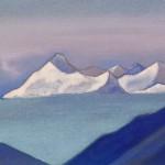 Ладак [Там за туманами]. 1943 Ladakh [There behind the Fogs] Картон, темпера. 30,4 х 45,7