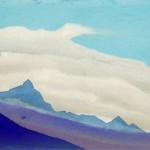 СИККИМ Эверест [Облака над синим пиком]. 1938 Everest [The Clouds above the Blue Peak] Картон, темпера. 30,6 х 45,7