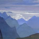 Гималаи [Сиреневые сумерки в горах]. 1935–1936 Himalayas [Lilac Twilight in the Mountains] Картон, темпера. 30,6 х 45,7