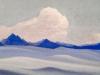 Гималаи [Вечер опускается на ледник]. 1944 Himalayas [Evening Descends on the Glacier] Картон, темпера. 30,6 х 45,8